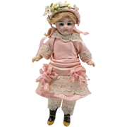 Antique Pink Silk and White Lace Dress with Headband for French Mignonette Doll