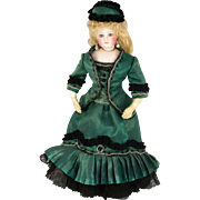 "Beaded Green and Black Silk Lace Dress with Hat for 14"" Antique French or German Fashion Doll"