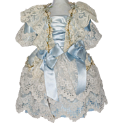 Blue Antique Silk Dress with White Lace for Antique French or German Bebe Doll