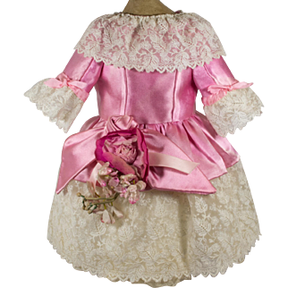 Bright Pink Antique Silk Dress for a 19 inch Antique French or German Doll