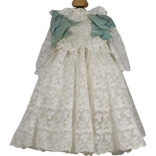 """White Cotton Lace and Blue Silk Ribbon Dress for an Antique 19"""" French or German Doll"""