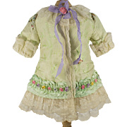 Pale Green Antique Silk Dress for an Antique French or German Doll