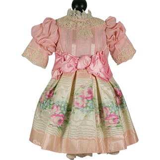 Pink Floral Pattern Antique Silk Dress for a 19 inch French or German Doll