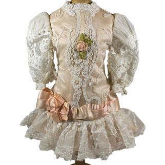 """Pink Antique Silk Covered With White Lace Dress for Antique French 19"""" Jumeau Doll"""