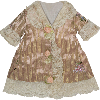 Pink and Metallic Gold Antique Silk Dress for Antique French or German Doll