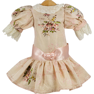 """Pink Antique Embroidered Silk Dress for 16"""" Antique French or Germand Doll"""