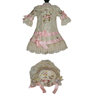 Beige Antique Silk Dress and Bonnet with Floral Embroidery and Pink Sillk Ribbon Trim for an Antique French or German Bebe Doll