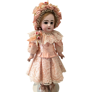 """Antique Peach Silk and Lace Dress with Bonnet for a 19"""" Antique French or German Doll"""