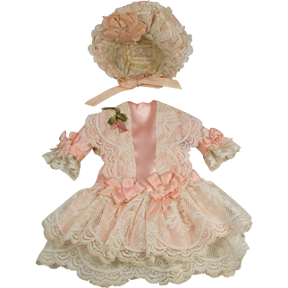 Pink Antique Silk and Lace Dress and Bonnet for an Antique French or German Doll