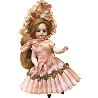 """Pink Antique Silk Pleated Dress and Bonnet for 4"""" inch Antique French or German Mignonette Doll"""