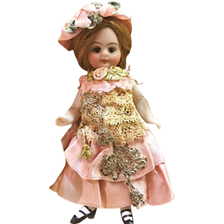 Pink Antique Silk and Lace Dress Metallic Trim, Ribbonwork and Hat for 4 inch Antique French or German Mignonette Doll