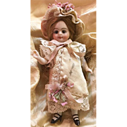 Cream and Pink Antique Patterned Silk and Lace Dress and Bonnet for 4 inch Antique French or German Mignonette Doll