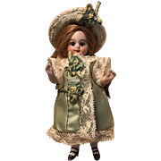 Pale Blue/Green Antique Silk and White Lace Dress and Hat for 4 inch Antique French or German Mignonette Doll