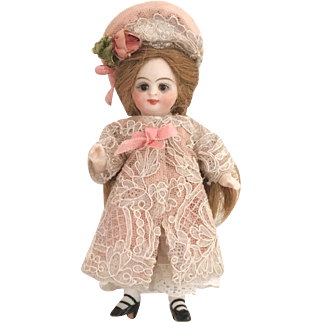 "Pink Antique Silk and Lace Dress and Hat for a 4"" Antique French or German Mignonette Doll"