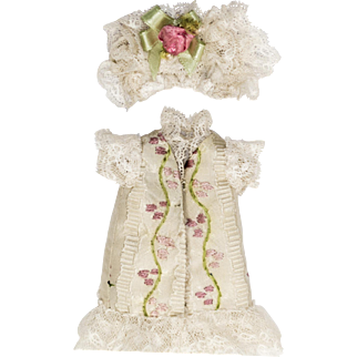 Off-White Hand Embroidered Antique French Silk Dress and Hat for Antique 5 inch French or German Mignonette Doll