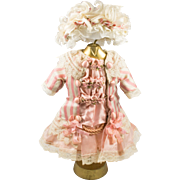 Pink Striped Antique Silk and Lace Dress and Hat for an Antique French or German Doll