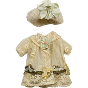 Beige Antique Lace Dress and Hat for Antique 4-1/2 inch French or German Mignonette Doll
