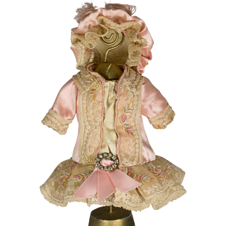 Pink Antique Silk and Lace Dress and Hat for an Antique French or German Doll
