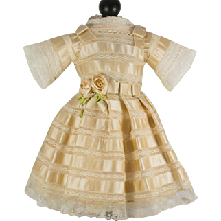 Creamy Beige Antique Silk and Lace Dress for a 19 inch Antique French or German Doll