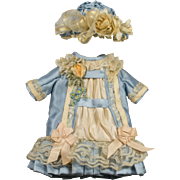 Blue and Cream Antique Silk and Lace Dress and Hat for an Antique French or German Doll