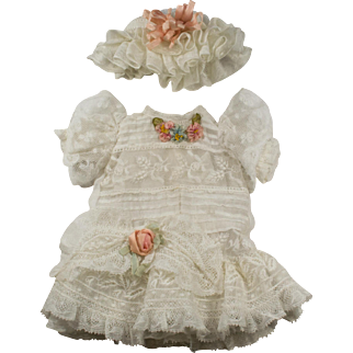 White Antique Lace and Cotton Dress and Hat for an Antique French or German Doll