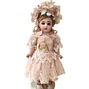 """Pink Antique Silk, Lace and Ribbonwork Couture Dress with Headband for a 19"""" Antique French or German Doll"""