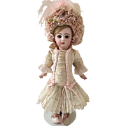 """Beige Antique Silk and Lace Couture Dress with Sumptuous Hat with Trim for 19"""" Antique French or German Doll"""