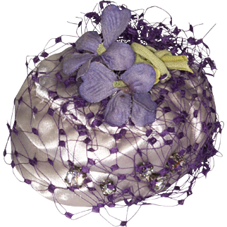 Pale Lavender Antique Silk Hat with Lavender Flowers, Veil and Tiny Rhinestones For Antique French or German Doll