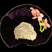 Antique Purple Velvet Bonnet Hat for French or German Antique Doll