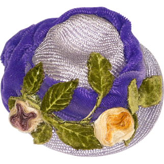 Pale Lavender Hat with Purple Velvet Trim and Silk Ribbon Flowers for Antique French or German Doll