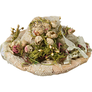 Antique Pink Silk Lace and Flowers Adorned Hat for French or German Antique Mignonette Doll