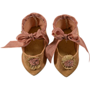 Peach Silk Shoes for French Doll