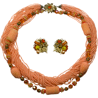 Alice Caviness Peach Necklace and Clip Earrings