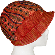 1920's Flapper Burnt Orange Silk Cloche Hat with Deep Blue and Gold Metallic Embroidery