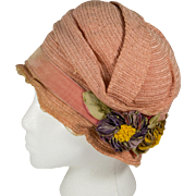 Vintage Premier Brand 1920's Cloche Hat Dusty Rose with Velvet Flowers