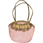 Tiny Vintage Pink Silk Purse with Metallic Lace, Tiny Ribbon Flowers and Metallic Ribbon Handle