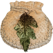 Tiny Vintage French Beige Velvet Purse with Metallic Beads and Velvet Leaf