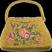 Micro Petit Point Floral Golden Beaded Evening Bag Purse