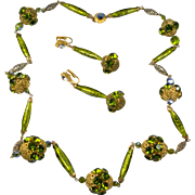 Alice Caviness Foil Venetian Glass Peridot Green Necklace and Earrings