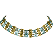 Art Deco Czech Choker Necklace Pale Aqua Rhinestones