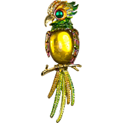 Vintage signed ART Parrot Brooch Pin with Gold Cabochon Belly, Enamel and Pave Rhinestones