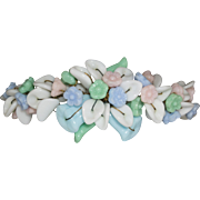 French Pastel Molded Glass Flowers and Leaves Bracelet