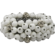 Vintage White Glass Bead and Rhinestone Balls Expansion Bracelet