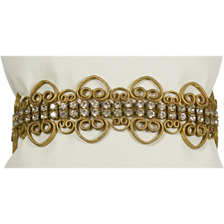 Vintage Victorian Bracelet Gold Tone Metal Swirls and Rhinestones