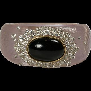Vintage Silvery Lucite Rhinestone Encrusted Cabochon Clamper Bracelet