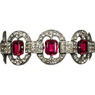Red Rhinestone and Clear Crystal Bracelet