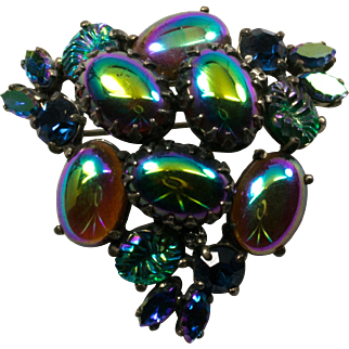 Large Cabochon Peacock Blue Purple Brooch Pin with Rhinestones and Molded Glass