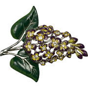 Vintage Deep Purple Lilac Flower Enamel Rhinestone Brooch Pin