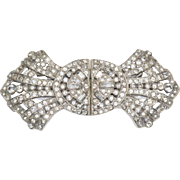 Vintage Elegant Rhinestone Brooch Pin Converted From Dress Clips