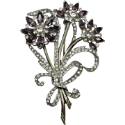 Lavender Bouquet Rhinestone Enamel Brooch Pin